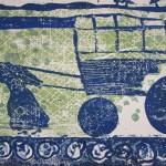 Das Rad I (Linoschnitt  (zur Mutter Courage )