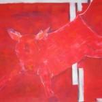 am Fenster fliegt ne' Kuh vorbei  / 100 x 80 cm